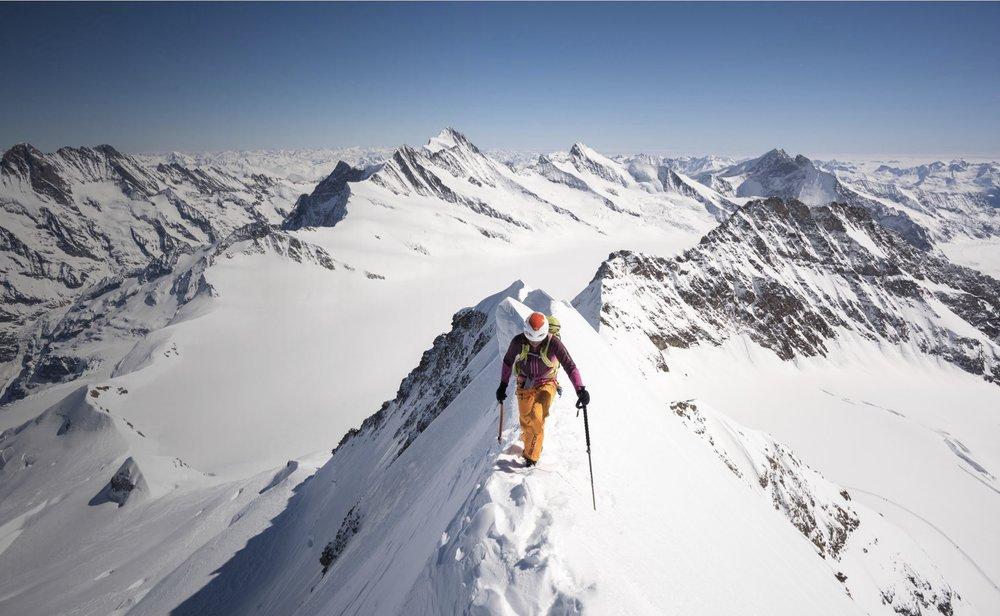 Liv Sansoz on the SE ridge of the Monch, Oberland, Switzerland