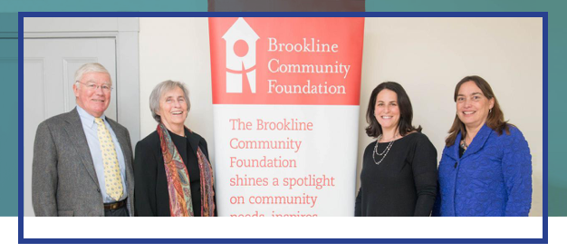From left to right: Herbert P. Dane, BTHS Treasurer; Ann-Marie Carroll, BTHS President; Julie Marcus, Brookline Community Foundation Board of Trustees President; Jenny Amory, Brookline Community Foundation Executive Director. Photo by Leise Jones, Leise Jones Photography