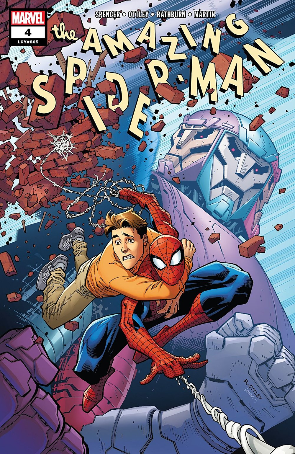 Image of the Amazing Spider-Man #4 cover. Spider-Man is shown carrying Peter on his back while behind looms a Tri-Sentinel.