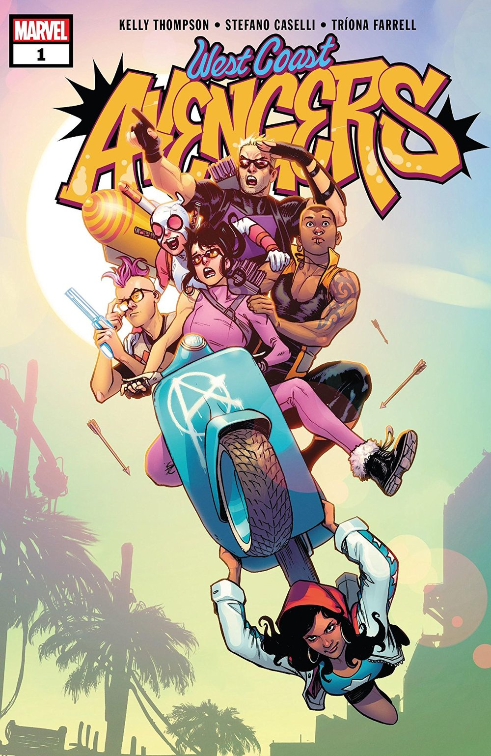 Image of the West Coast Avengers cover. The team is front and center riding on a motorcycle through the air: Quentin Quire, Clint/Kate/Hawkeye, Gwen-Pool, and Fuse. America Chavez is hanging off the bike. The title, West Coast Avengers is displayed above in a graffiti style.