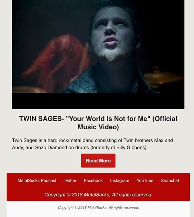 Thanks MetalSucks for featuring us on your official email newsletter!  #press #email #metalsucks #positivevibes #metal #music #band #twinsagestheband #musicvideo #thankyou @metalsucks @sozodrummer