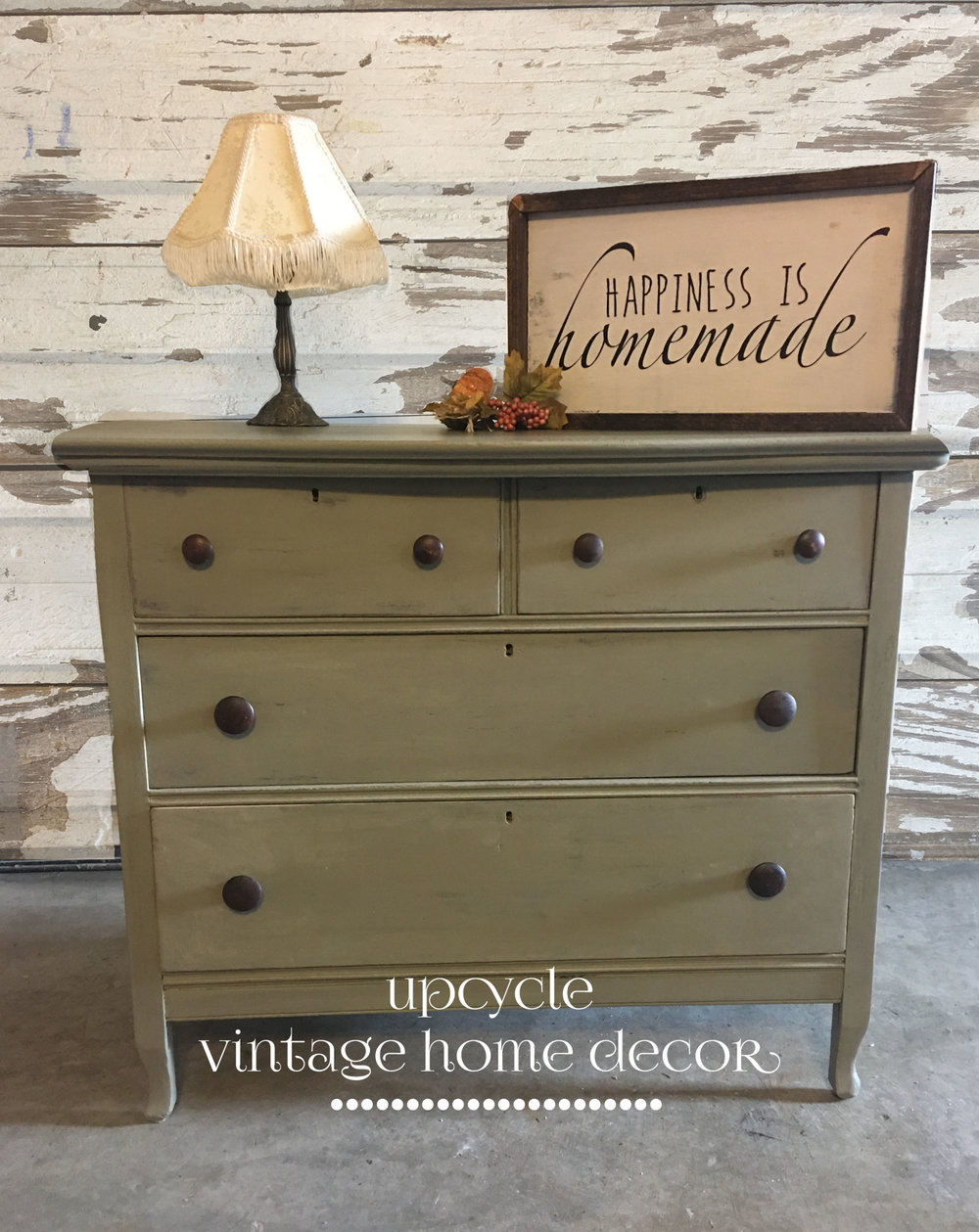 Solid Walnut Dresser painted in FMP Lichen with Driftwood $198 Available at James & Jess' House of Goods