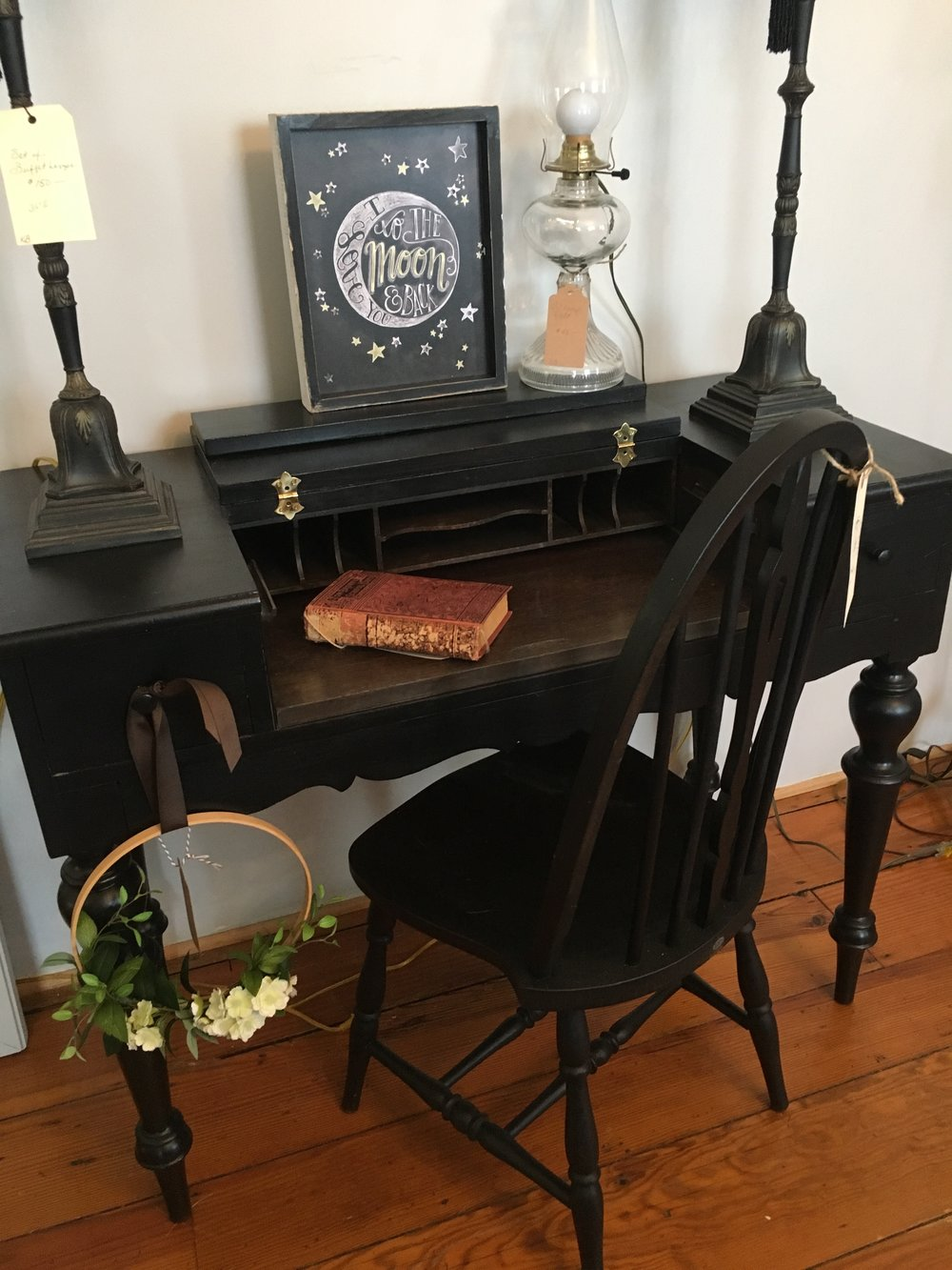 Black Writing Desk. Available at the Blue Hearth. $189.00