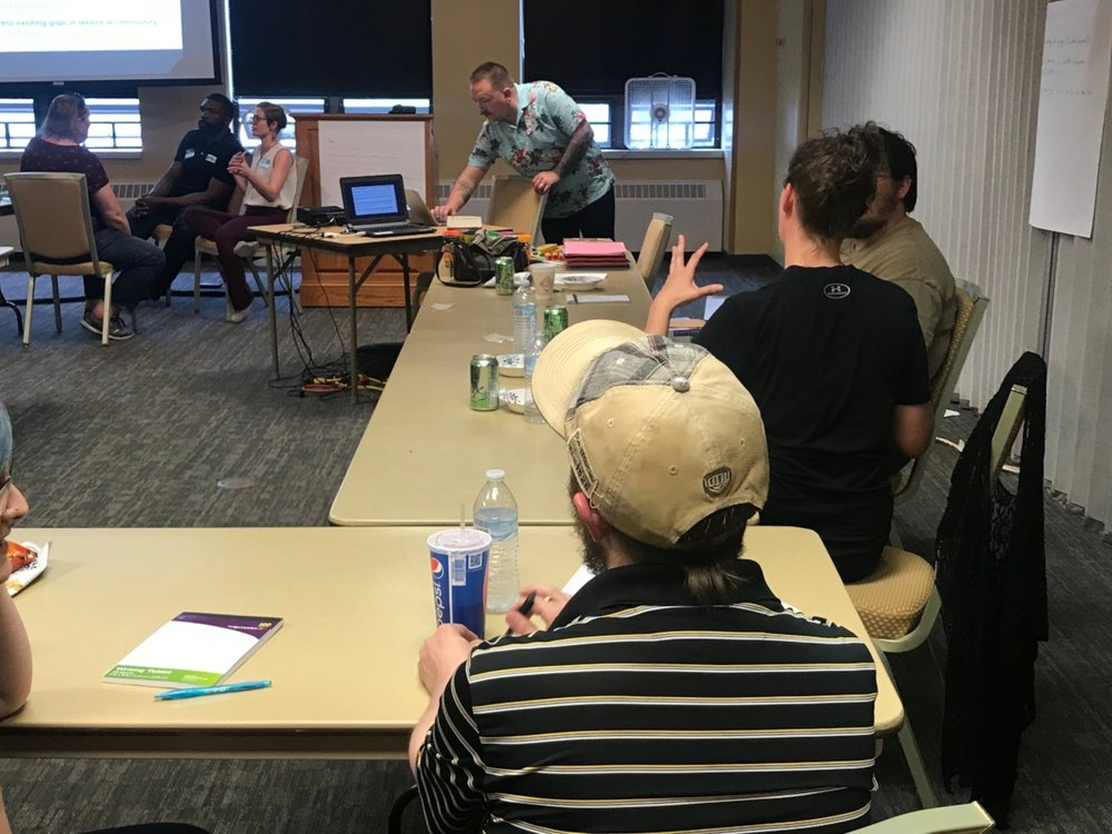 Participants work in small groups in a May 2018 workshop in Houghton, Michigan.