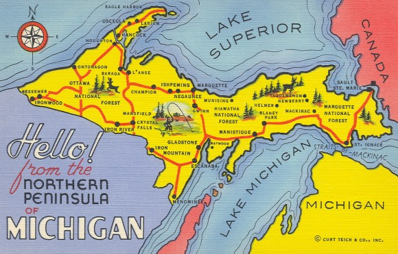 A vintage postcard from the Upper Peninsula