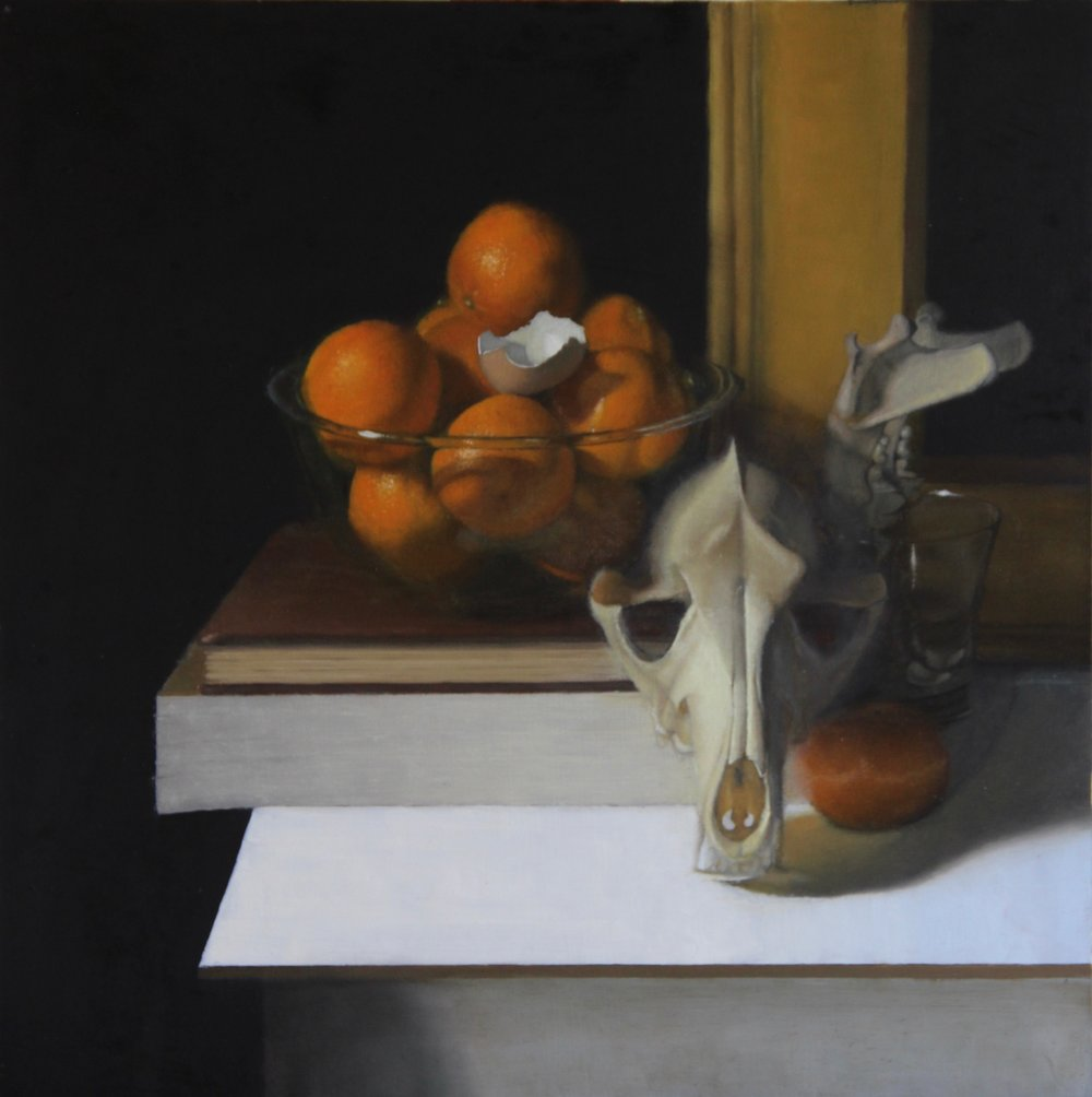 """Oranges and Skulls""    20x20, Oil on Panel    $1060 SOLD"