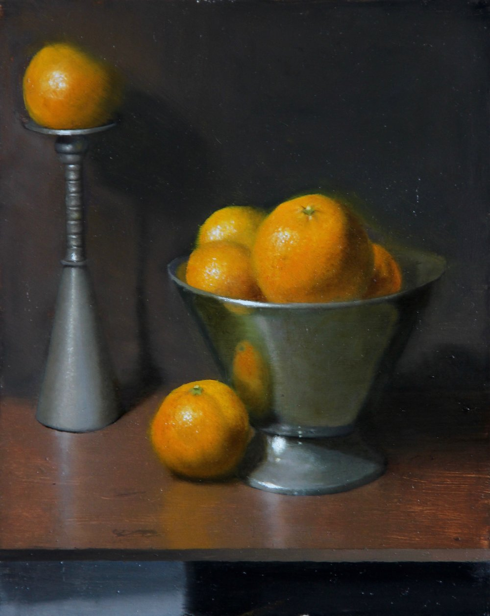 """Oranges and Silver""    9x12, Oil on Panel    $600"