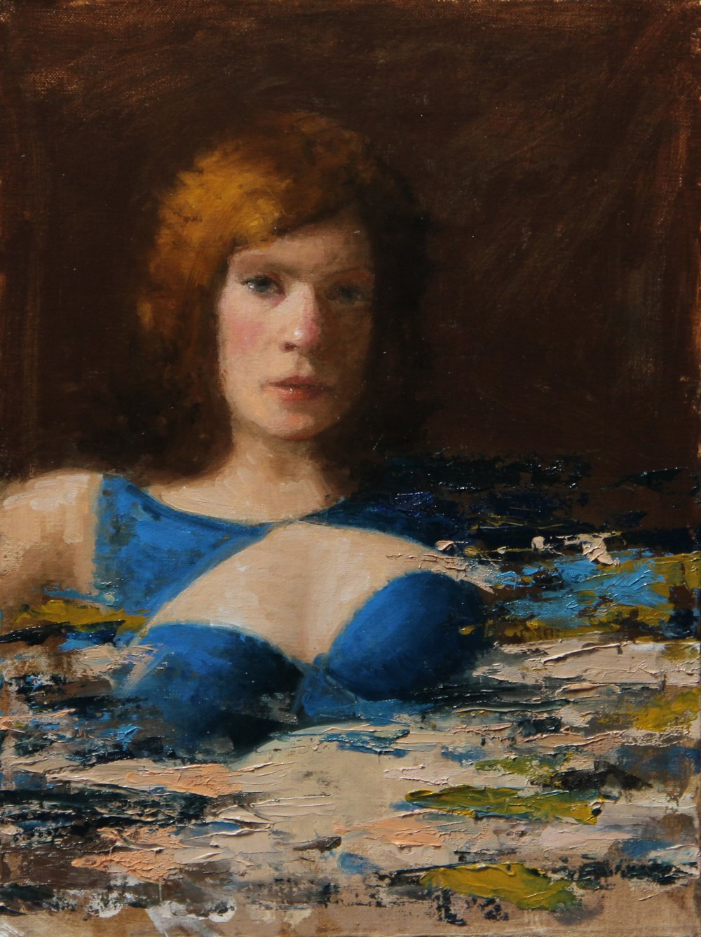 """Pam in Blue""    12x16, Oil on Canvas Panel    $500"