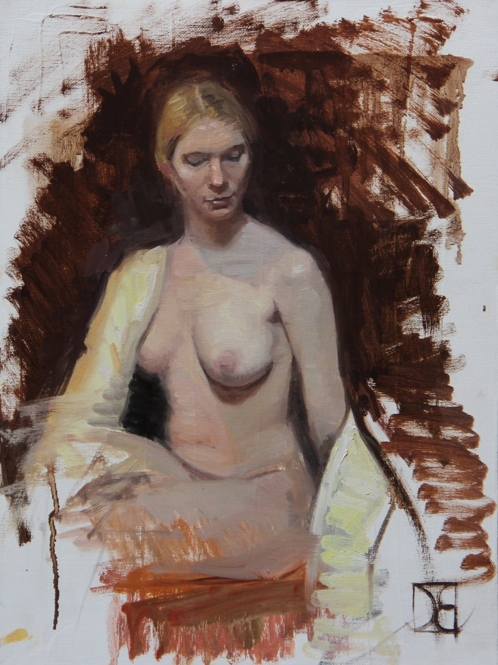 """Pam with Yellow Robe""    12x16, Oil on Canvas Panel     $500"