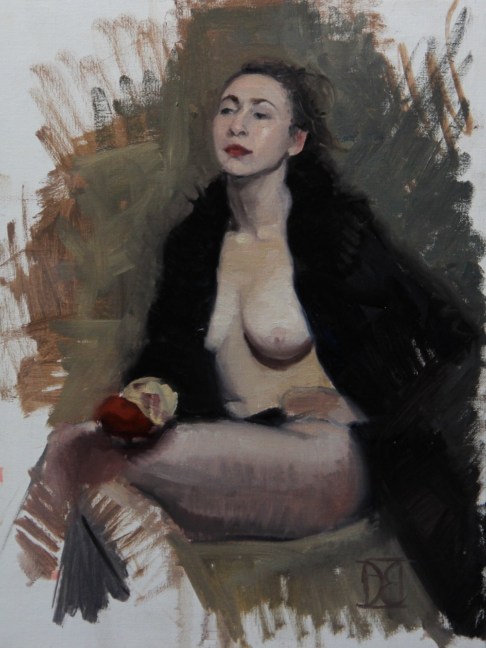 """Bea with Black Coat""    12x16, Oil on Panel    $500"