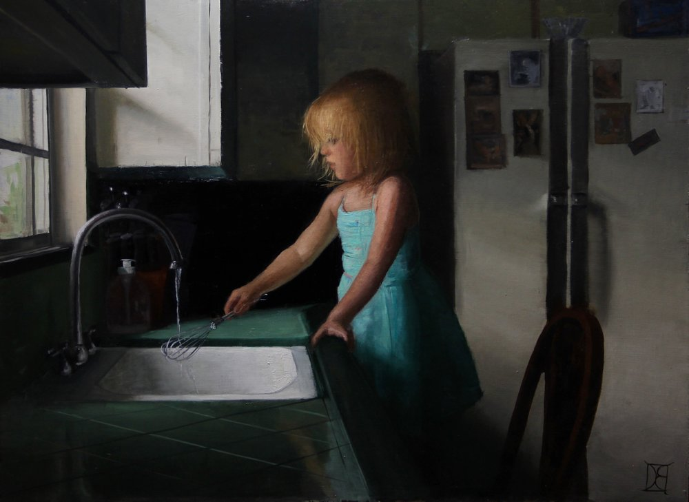 """Doing the Dishes""  Oil on Panel  24 x 32  $1980"