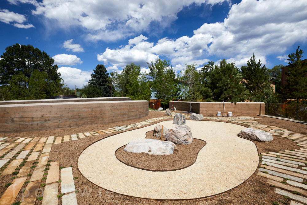 ZEN GARDEN - Sitting on top of the Kiva, the Zen Garden fosters both interaction and mindful meditation with a winding path that surrounds a rake-able gravel garden. The Zen Garden also provides incredible views of the entire Peace Garden and surrounding landscape.