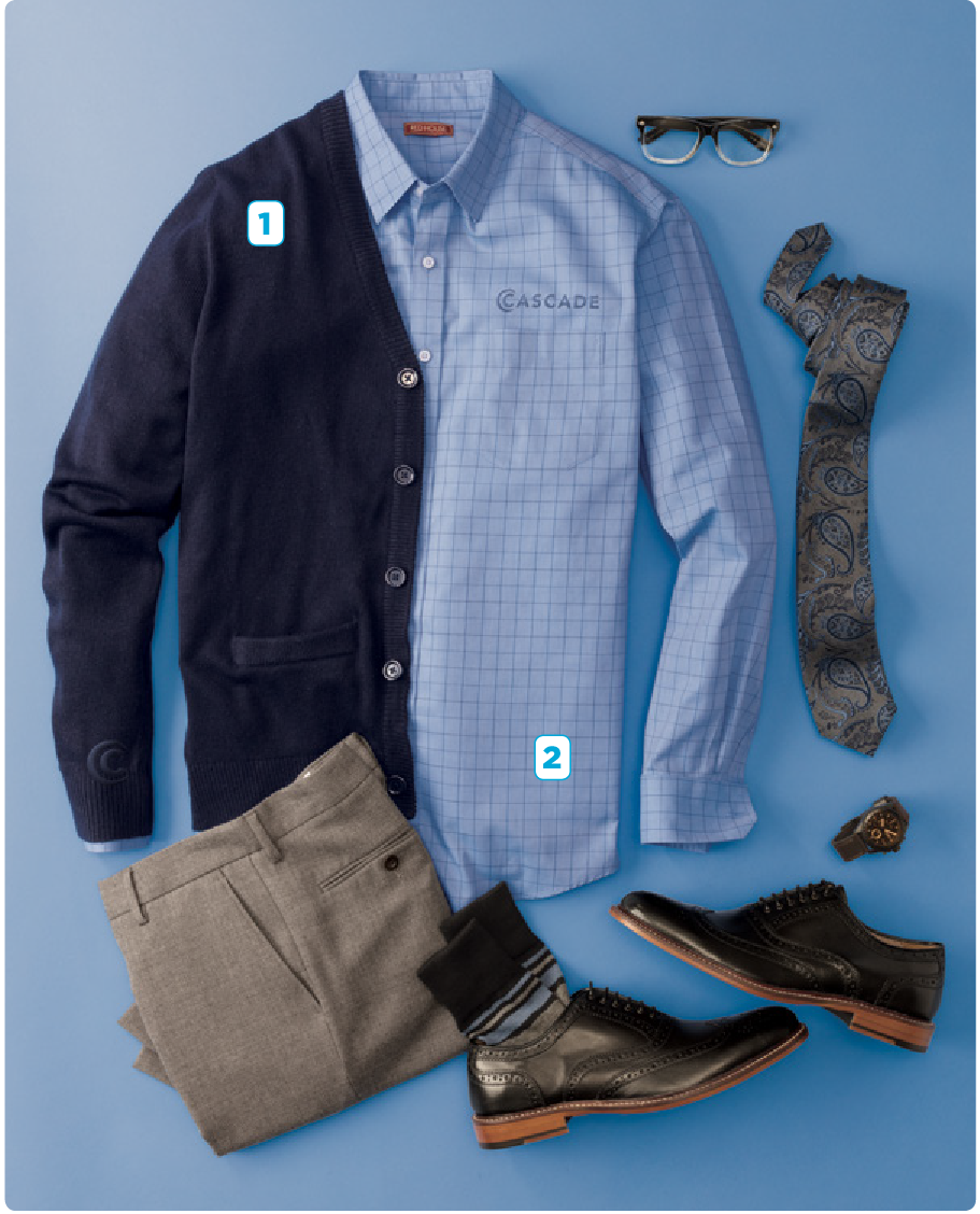 - 1. Port Authority Value V-Neck Cardigan Sweater With Pockets2. Red House Windowpane Plaid Non-iron shirt