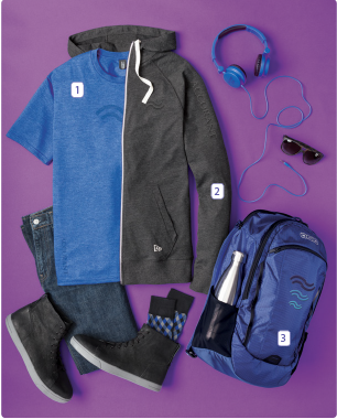 - 1. District Made Mens Perfect Tri-Crew Tee2. New Era Sueded Cotton Full-Zip Hoodie3. Ogio Shuttle Pack