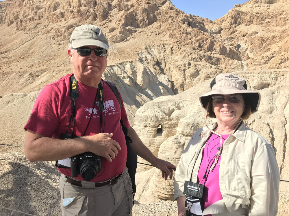 - Mike and Maria in the Holy Land, site of the Dead Sea scrolls.