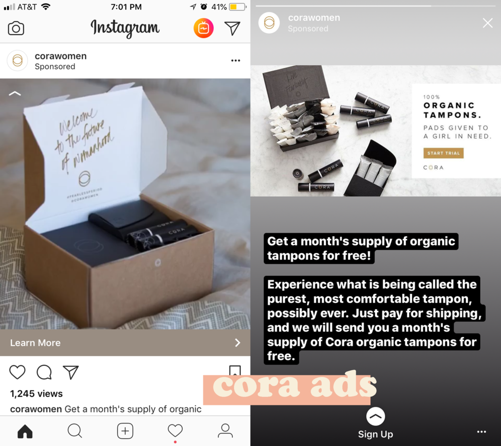 cora organic tampons instagram advertisements.png