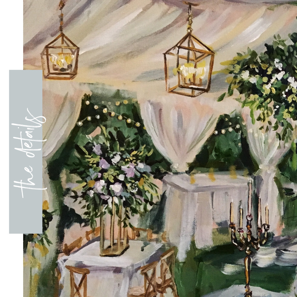 03 - Detailing - Each painting is filled with the details unique to your event or special day. The painting is delivered to the client a couple of weeks after the event has concluded. During these two weeks, I will ensure all of the small details are infused into your painting so that it will be a forever showpiece in your home or special place.
