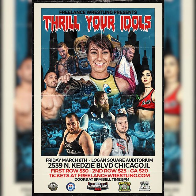 "Freelance Wrestling is in action at the Logan Square Auditorium for ""Thrill Your Idols""  Featuring the debut of @thepriscillakelly  Friday Match 8th, 2019 2539 N. Kedzie Blvd. Chicago, IL Doors 8:00 Show 9:00  Tickets available now at FreelanceWrestling.com"