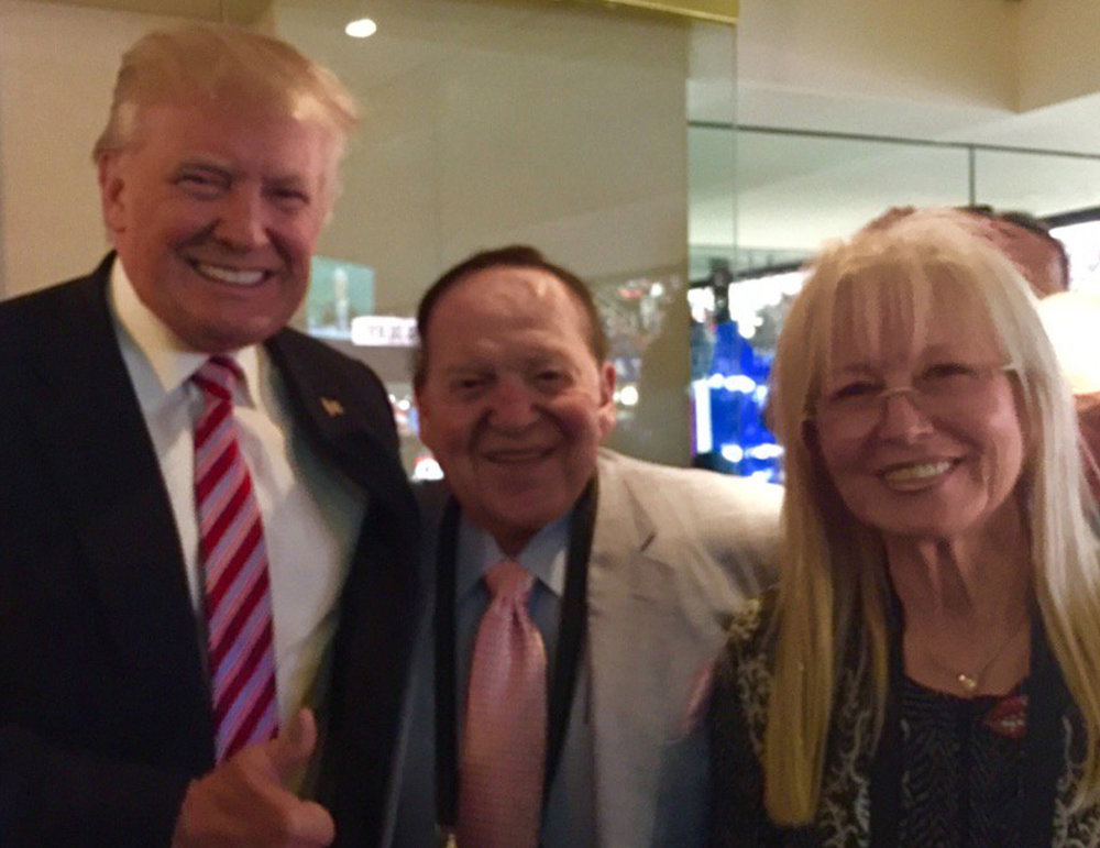 Right-wing mega-donor Sheldon Adelson is one of Trump's closest advisors, and one of the largest donors to Taglit Birthright. Adelson donated at least $35 million to Trump's 2016 Campaign and they watched the 2018 Midterms returns together.   Image: https://opensociet.org/2018/09/18/trumps-top-campaign-financers-where-are-they-now/