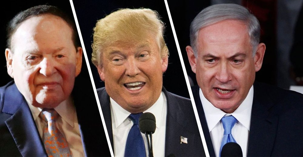 Adelson, Trump, and Bibi are all in open support for the disastrous policies entrenching Israel's Occupation.   Image Source: Mike Segar/Reuters, AP, Bloomberg
