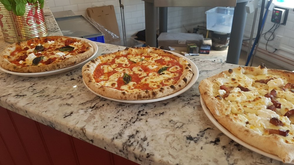 Some of our wood fired pizzas ready to eat at the pizza project cafe in merstham, surrey