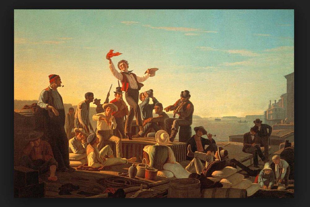 """The Jolly Flatboat Men"", 1857, George Caleb Bingham"