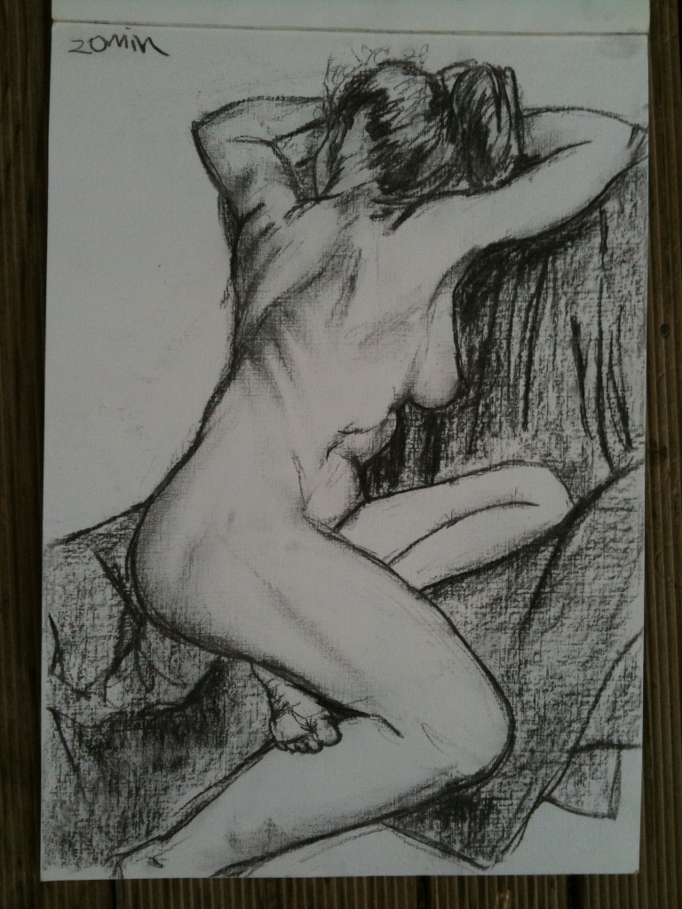 20mins pose - A3. A favourite I think. The acrylic paper had a nice canvas texture, I got lucky with the angle and I like that my attempts at the ribs didn't make her look like she got savaged by a beast. Plus I'm tres happy with the way the foot turned out.
