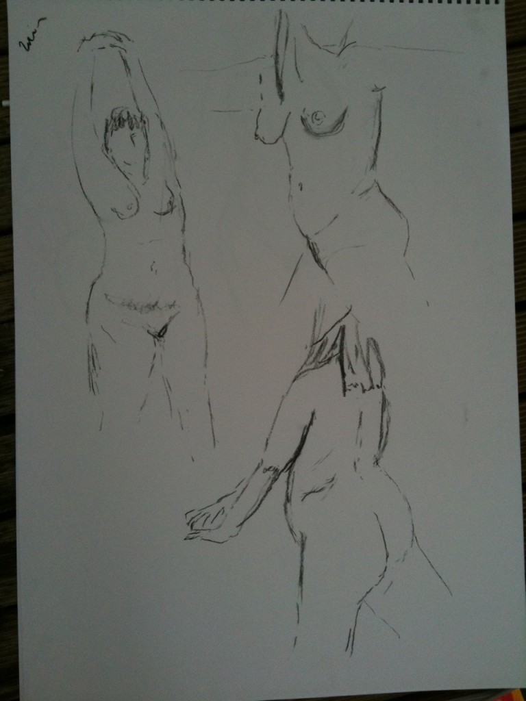 1min poses - A2. very quick sketches, nice to practice focus on tension & angles. Focusing on where the weight falls helps me to pick which lines to draw.