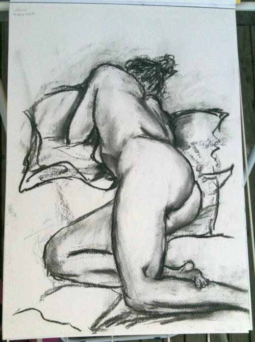 20 mins pose - A3. charcoal