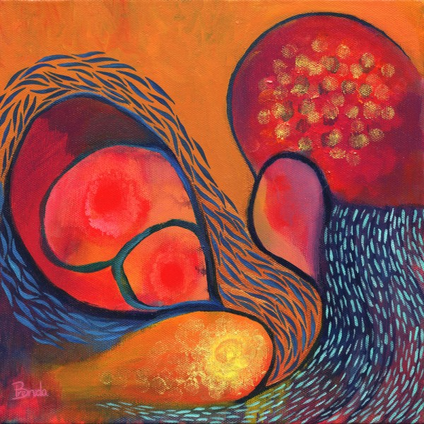 DANCE IN ORANGE, Acrylic on canvas, 10 x 10inch, ©2011 Brenda Mangalore/Sashé Studio