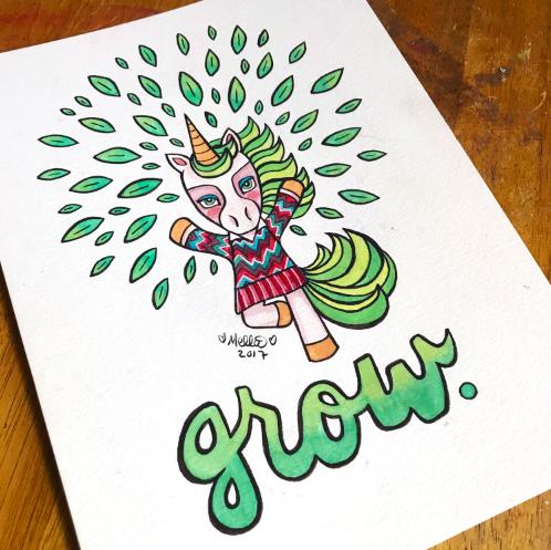 grow unicorn illustration art