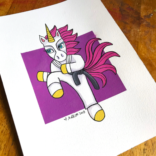 karate unicorn illustration