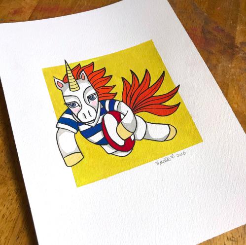 rugby unicorn illustration aukland