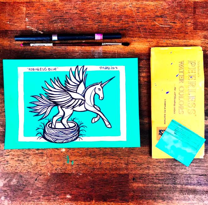 blue robin unicorn illustration