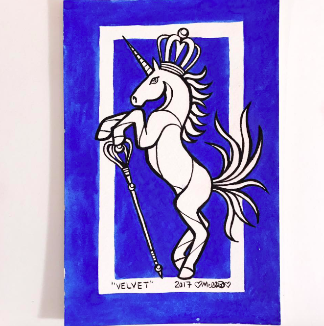 blue velvet unicorn illustration
