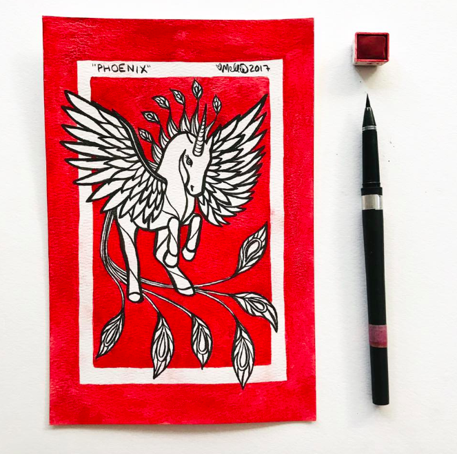 red phoenix unicorn illustration