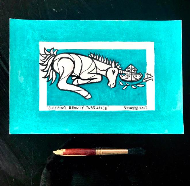 turquoise unicorn illustration