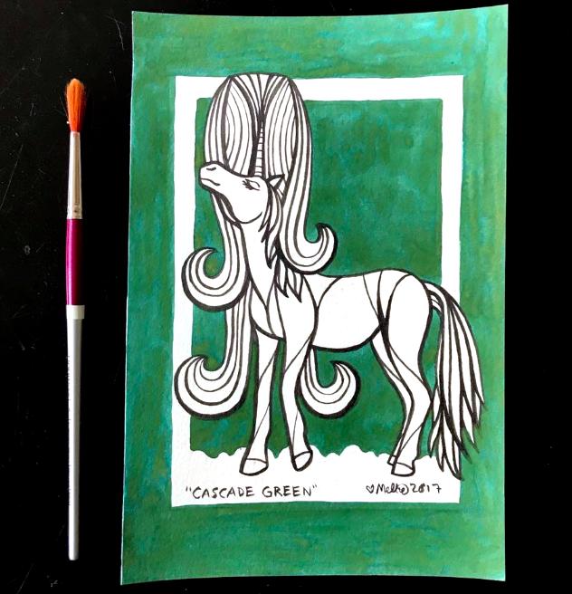 green unicorn illustration