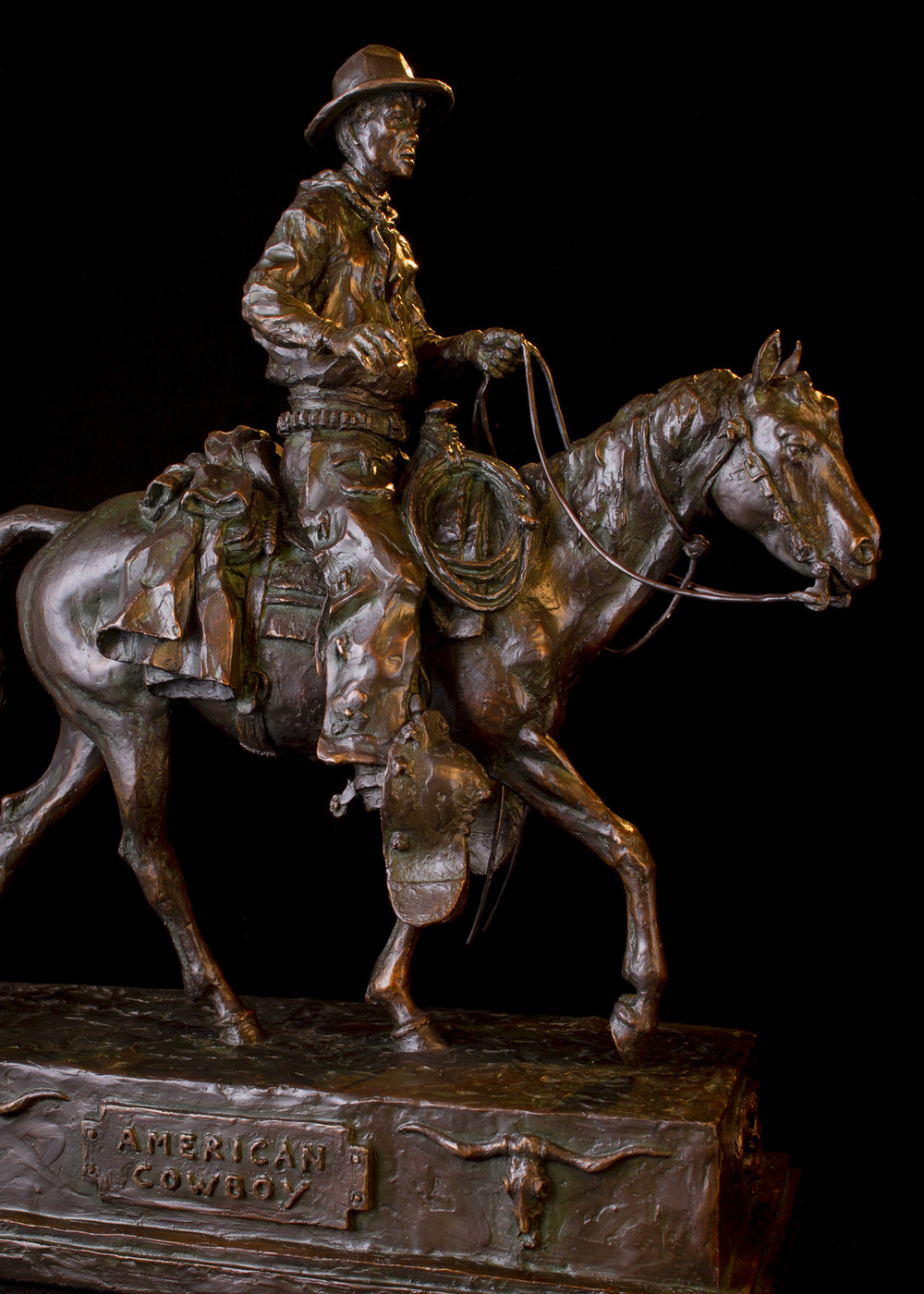 "American Cowboy  | 24.5"" x 22"" x 9.5"" | Bronze | $6,200 | Edition of 30"