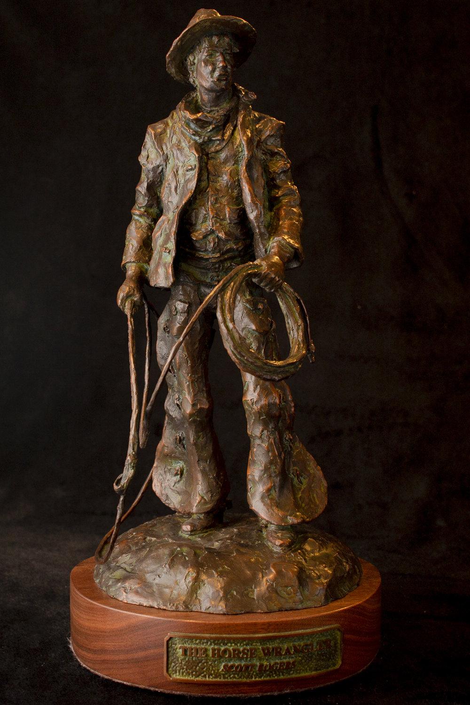 "The Horse Wrangler | 16"" x 6.5"" x 6.5"" | Bronze | $2,800 | Edition of 30"