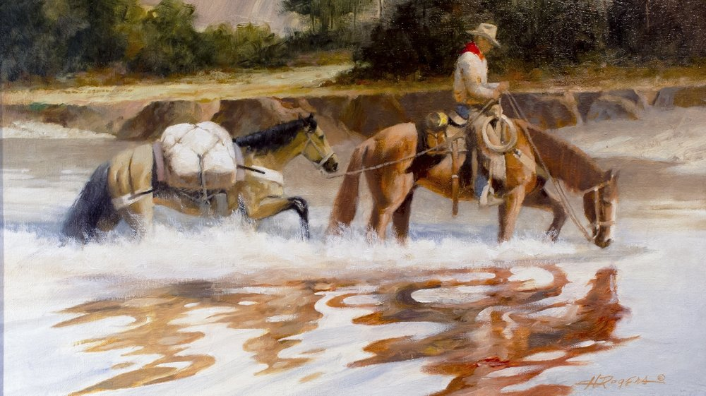"Crossing Middle Creek | 12"" x 20"" 