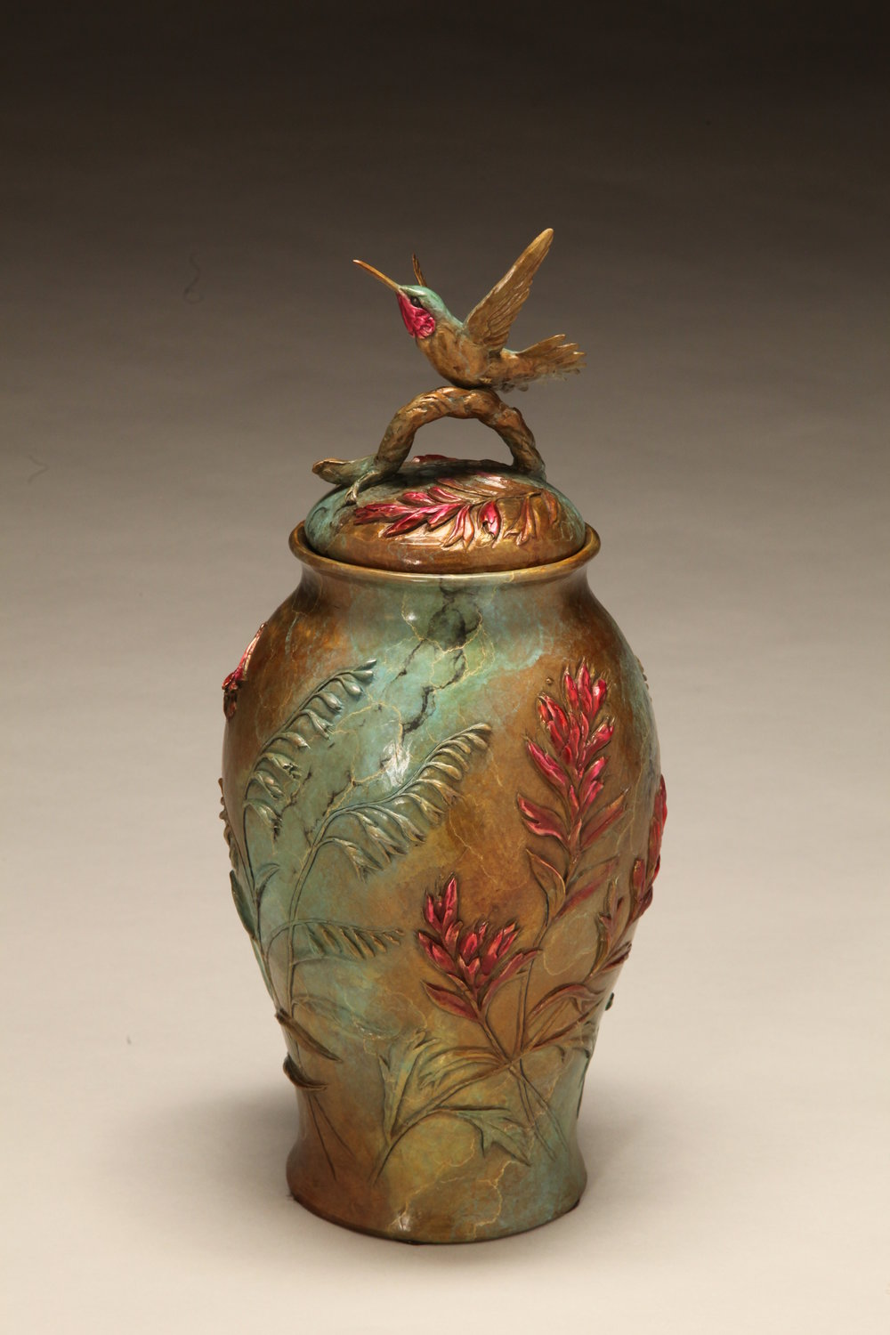 "Mountain Grace (Lidded Vessel with Hummingbird and Columbine) | 13""x 6"" 