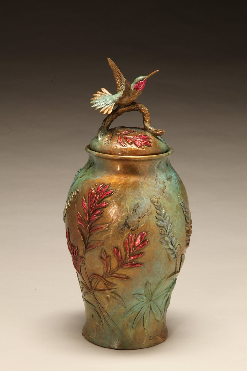 "Mountain Grace (Lidded Vessel with Hummingbird and Columbine) | 10""x 6"" 