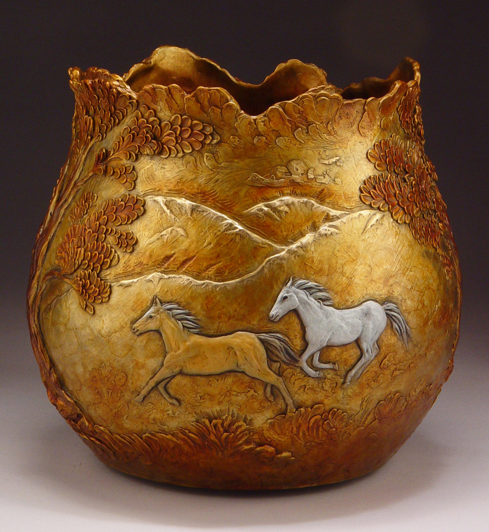 "Wild Spirit (Vessel with horses)| 12"" x 13"" 