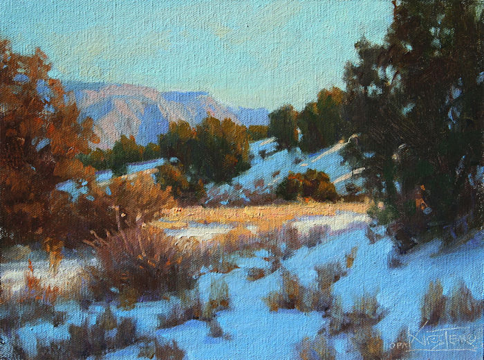 "Blue Hillside- Bright Grasses | 9"" x 12"" 