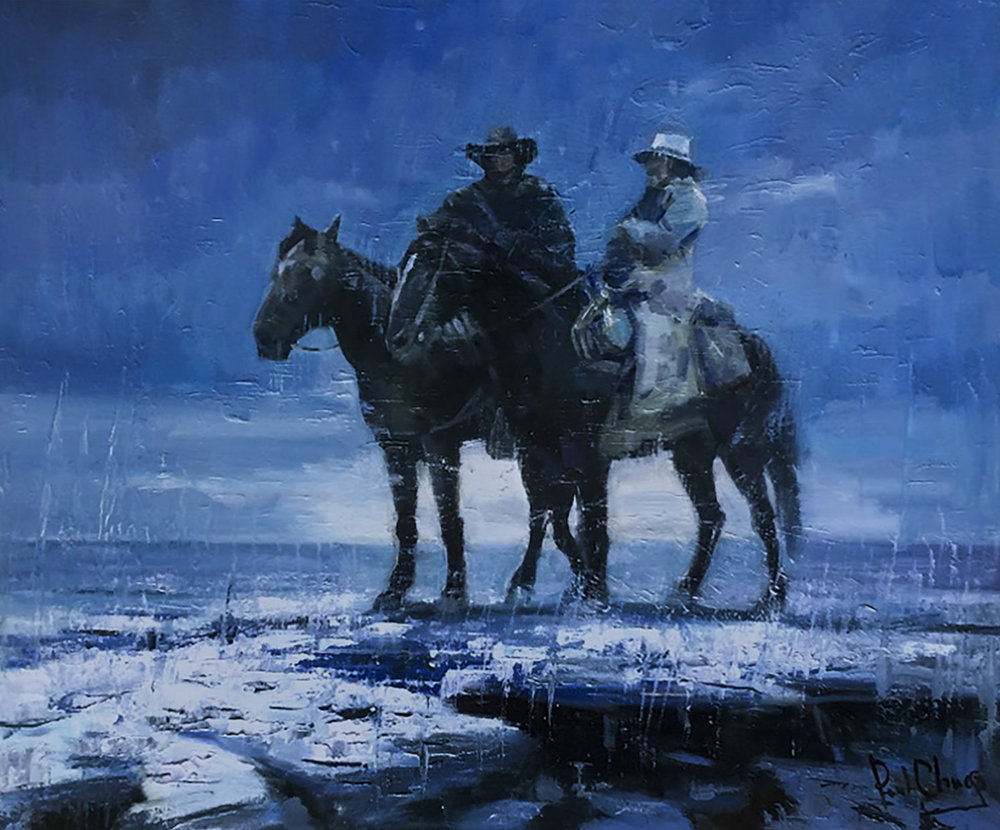 Discussion in the Snow | 20 x 24 | Original Oil Painting | $2,950 | By Paul Cheng
