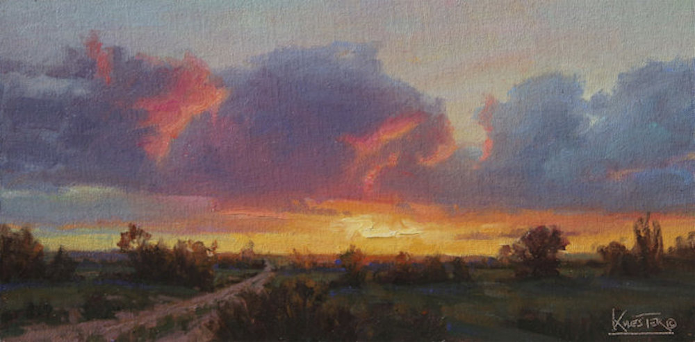 "Pink and Purple Evening | 8"" x 16"" 