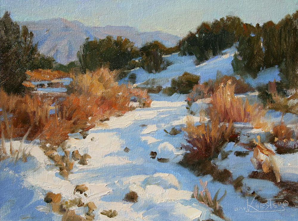 "Snow Covered Arroyo- Placitas | 9"" x 12"" | Original Oil Painting | $1,400 | By Robert Kuester"