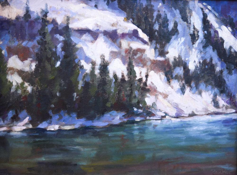 "Winter Lake | 9"" x 12"" | Original Oil Painting | $1,150 | By Sandra Boschet"