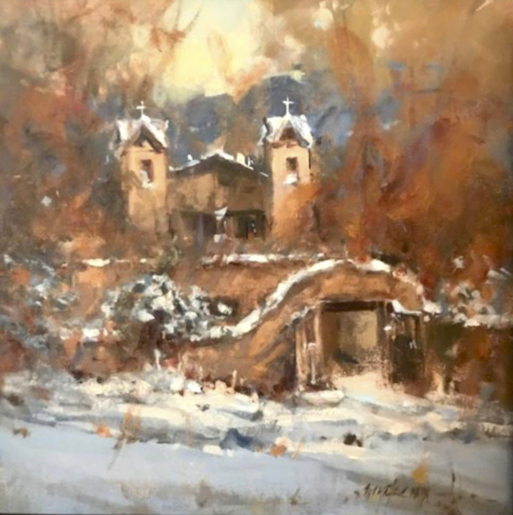 "Winter Comes to Chimayo | 12"" x 12"" 